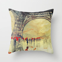 Winter in Paris Throw Pillow by takmaj
