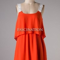 Game Day Orange & White Lace detail Dress