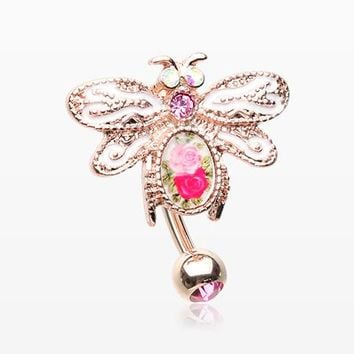 Rose Gold Vintage Floral Wasp Reverse Belly Button Ring