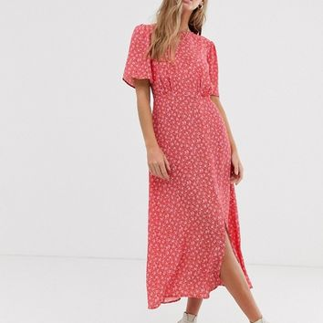 New Look split detail midi dress in red floral pattern | ASOS