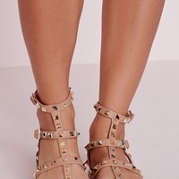 Missguided - Studded Flat Gladiator Sandals Blush