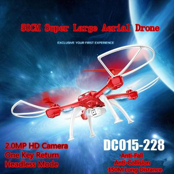 2018 new 50CM Super large aerial RC drone 015-228 2.4G 150M one key return function remote control helicopter with 2.0MP camer