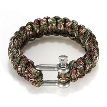 1pcs Self-rescue Adjustable Paracord Survival Bracelet 7 Strand Handmade Weave Parachute W/ Cord Shackle outdoor tools