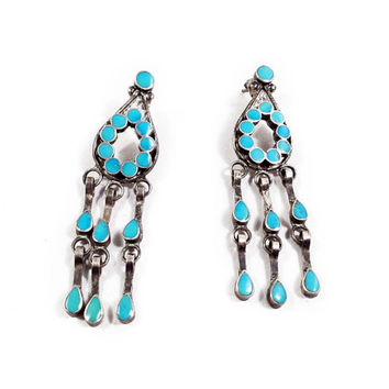 Native American Style Sterling Silver Turquoise Dangle Earrings // Vintage Sterling Silver, Vintage Jewelry
