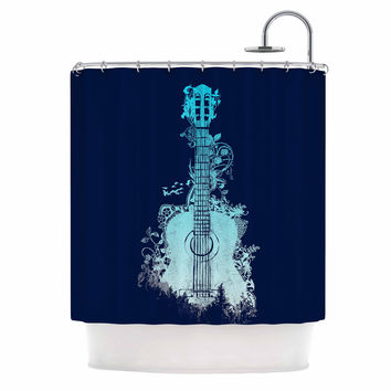"Frederic Levy-Hadida ""Nature Tune - Blue"" Aqua Music Shower Curtain"