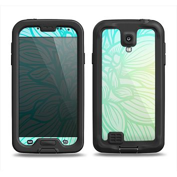 The Faded Blue & Green Subtle Floral Samsung Galaxy S4 LifeProof Fre Case Skin Set