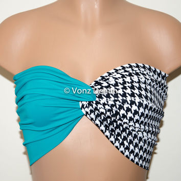 Jade and Houndstooth Twisted Bandeau, Swimwear Bikini Top, Twisted Top Bathing Suits, Spandex Bandeau Bikini