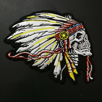 Customized indian motorcycle patches for Embroidered Iron On biker badges Vest jacket shoes hat appliques indian chief stickers