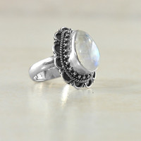 Harvest Moon Sterling Silver Ring - Moonstone | Labradorite