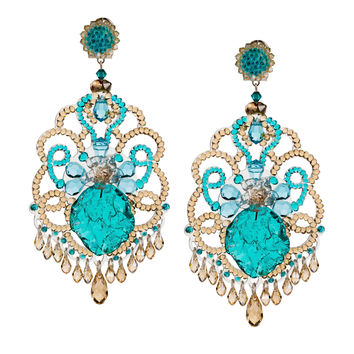 Aqua Crystal Pendant Earrings by DUBLOS
