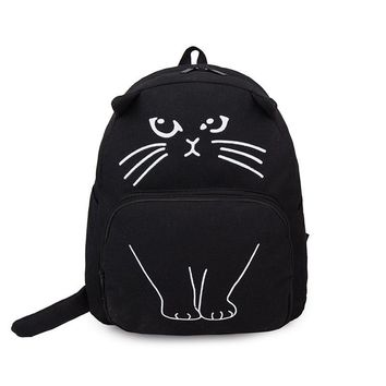 Brand Designer School Bags for Teenager Girls Canvas Backpacks Women Cute Cartoon Cat Printing Small Backpacks Female Travel Bag
