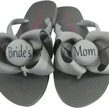 Gray Silver Mother of the Bride Flip Flops with Bows/ many colors