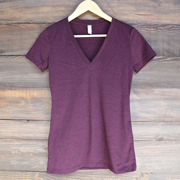 triblend short sleeve deep v-neck tee - amethyst triblend
