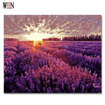 WEEN Digital Lavender Garden Pictures to draw Paint By Numbers Canvas Art DIY Handpainted Coloring Wall Kit For Living Room Gift
