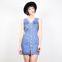 Vintage Bongo Denim Dress Blue Jean Dress Jumper Dress Bandage Dress Bodycon Dress Micro Mini Dress Wiggle Dress 1980s 80s XS S Extra Small