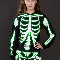Unisex Glow Skeleton Screen Printed Fine Jersey Long Sleeve T-Shirt
