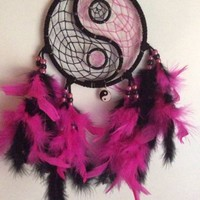 "5"" black and pink glowing yin-yang dream catcher"