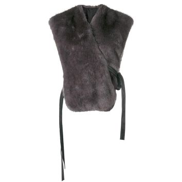 Grey Faux Stole by Helmut Lang