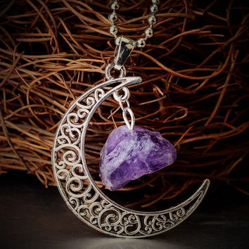 Vintage Moon Necklace Irregular Natural Stone Pendant Necklaces Amethyst Rose Quartz Crystals Antique Bronze Chains