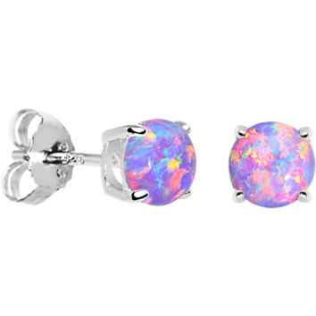 6mm Multi Round Sterling Silver Synthetic Opal Stud Earrings | Body Candy Body Jewelry