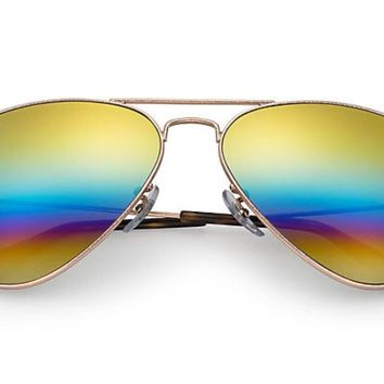New Authentic Ray-Ban AVIATOR RAINBOW FLASH LENSES Sunglasses, RB3025 58mm