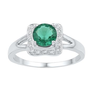 Sterling Silver Womens Round Lab-Created Emerald Solitaire Square Frame Ring 3/4 Cttw