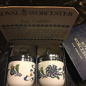 Royal Worcester Egg Coddler Pair - Palmyra Pattern - Blue/Teal/Red Floral-Rare and Beautiful