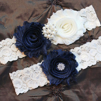ON SALE Wedding Garter Belt, Bridal Garter Set, Ivory Lace Garter, Keepsake Garter, Something Blue, Toss Garter, Shabby Chiffon Ivory Navy B