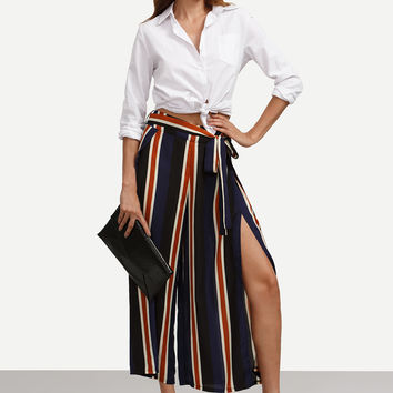 Multicolor Striped Tie Waist Split Wide-leg Pants | MakeMeChic.COM