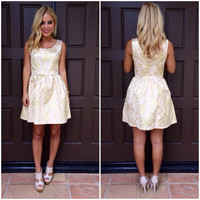 Golden Foilage Babydoll Dress