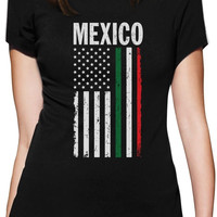 Big Mexican American Flag Mexico USA Women T-Shirt Gift Idea Custom Print Casual O-Neck Top Tee