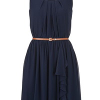 Belted Chiffon Dress - Blue