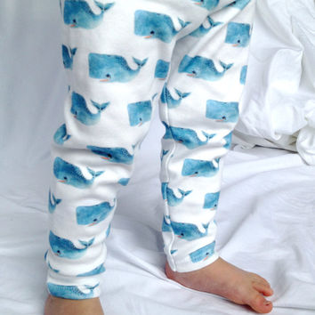 Organic Baby Leggings, Blue Whales, Toddler Leggings, Baby Pants, Toddler Pants