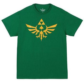 Legend of Zelda Triumphant Triforce Nintendo Licensed Adult T-Shirt - Green - 4X