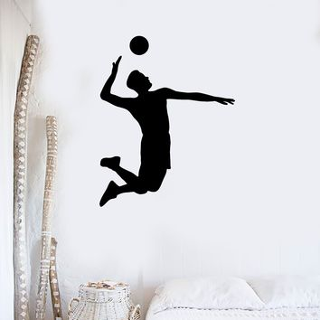 Wall Decal Vinyl Sticker Volleyball Game Sport Player Jump Ball Hit Feed Unique Gift (ed425)