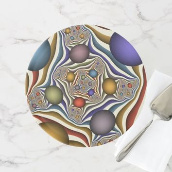 Flying Up, Colorful, Modern, Abstract Fractal Art Cake Stand