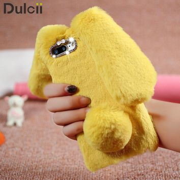 Dulcii for iPhone7 Plus 5.5 inch Phone Cover Rabbit Shape Warm Fur TPU Cellphone Back Casing for iPhone 7 Plus Phone Case