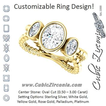 Cubic Zirconia Engagement Ring- The a'Malisa (Customizable 3-stone Oval Cut Design with 2 Oval Cut Side Stones and Wide, Bubble-Bead Split-Band)