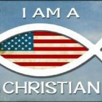 I am a Christian American  Flag Decorative Sign Tag License Plate