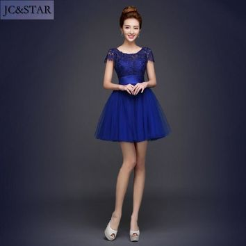 JC&STAR 2017 New Royal Blue Bridesmaids Dresses ,Purple Short Bridesmaids Dresses cheap bridesmaid dresses under 50  YYF01
