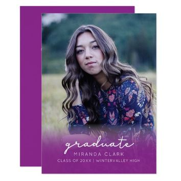 Graduation announcement photo invitation fuchsia