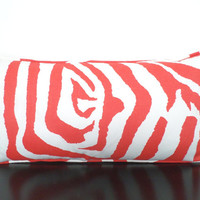 Coral outdoor pillow cover 21x11, zebra print cushion cover, animal print pillow, white and coral outdoor cushion,  coral red lumbar case