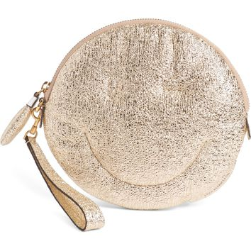 Anya Hindmarch Chubby Smiley Crinkled Metallic Clutch | Nordstrom