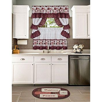 Ben&Jonah Collection Inspiration Cottage Window Curtain Set 57x36 Tier Pair/57x36 Ruffled Topper