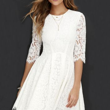 CUTE HALF SLEEVE LACE WHITE DRESS