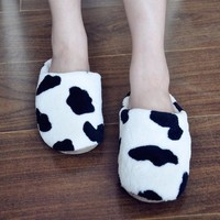 FunShop Women's Cow Pattern Mule Indoor Slipper D1117