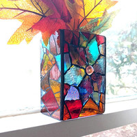 Blue Stained Glass Candle Holder, Colorful Stained Glass Mosaic Vase, Upcycled Stained Glass Candleholder/Vase, Mosaic Blue Dahlia Decor