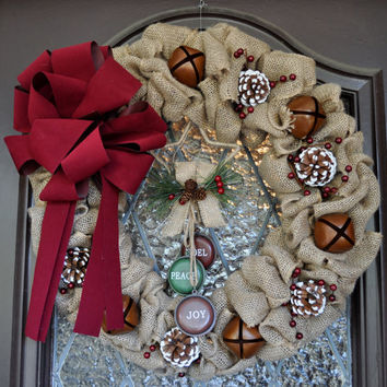 Christmas Wreath, Holiday Wreath, Rustic, Burlap, NOEL, PEACE, JOY