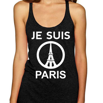 JE SUIS PARIS Eiffel tower womens Triblend Tanktop