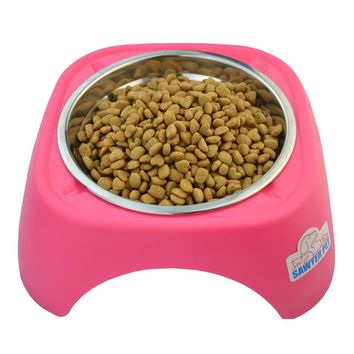 Eat Slow Stainless Steel Dog Bowl-with stand
